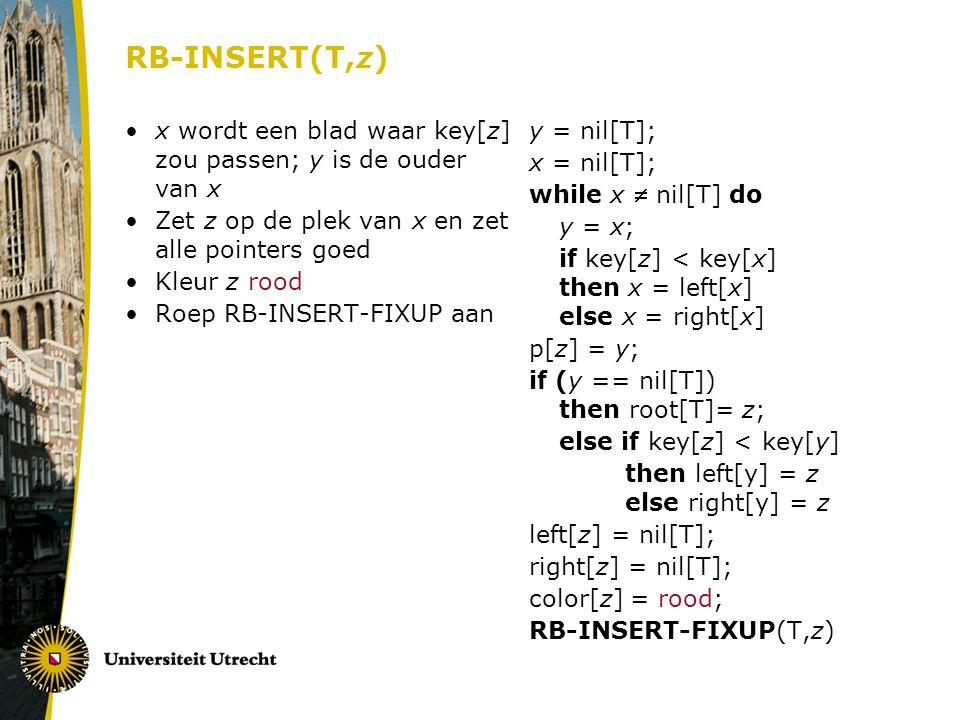 RB-INSERT(T,z) x wordt een blad waar key[z] zou passen; y is de ouder van x. Zet z op de plek van x en zet alle pointers goed.